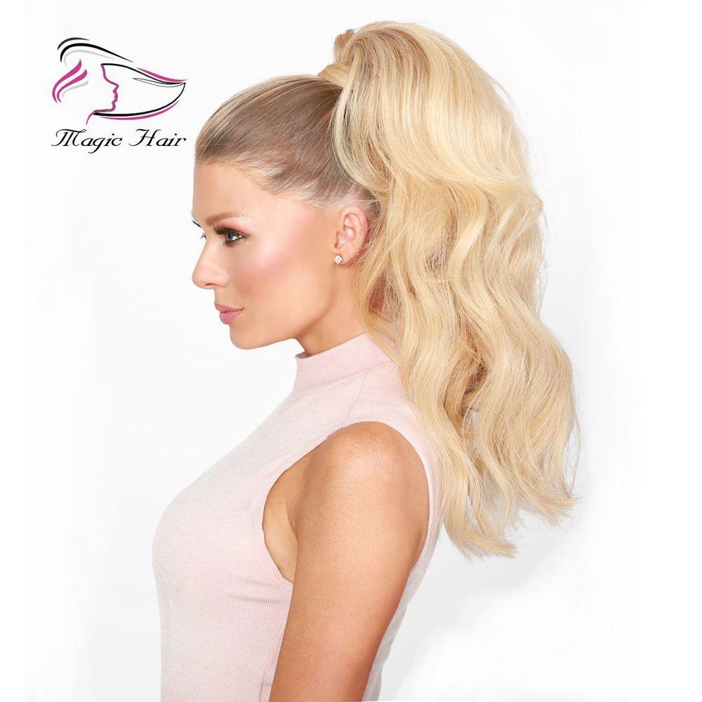 Хвост обернуть клип в наращивание человеческих волос цвет #18/22 закат блондинка бразильский человеческих волос волна тела 100 г в упаковке