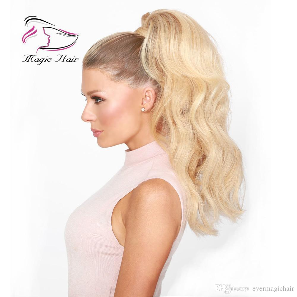 Clip en forma de cola de caballo en extensiones de cabello humano Color # 18/22 Sunset Blonde Brasileño Cabello humano Onda corporal 100 g por paquete