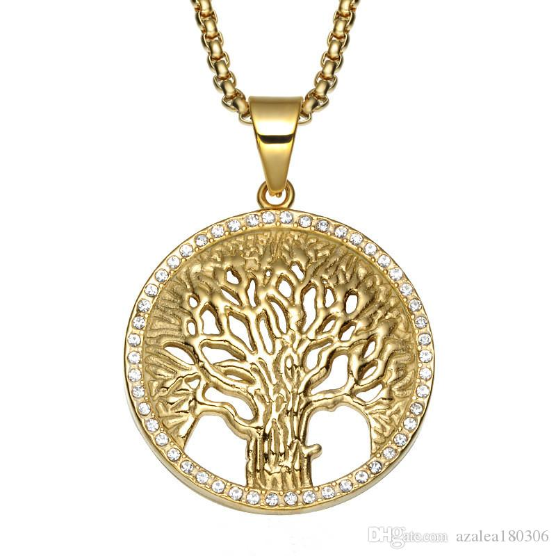 Christian Life Tree Pendant Necklace Stainless Steel Inlaid Crystal Hollow Pendant 60cm Chain Male and Female Jewelry