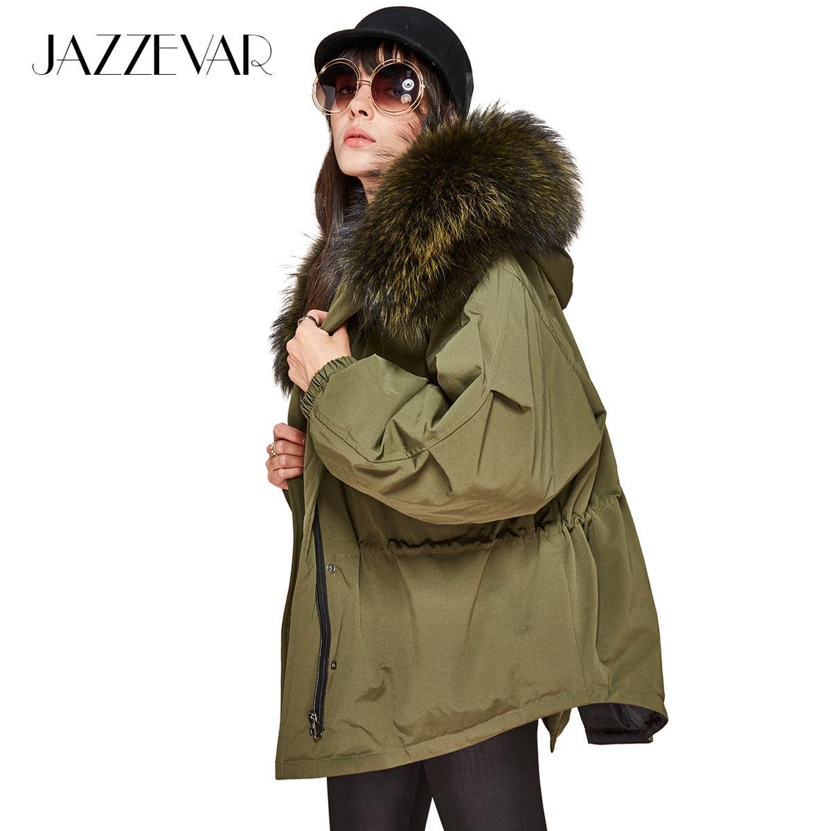 JAZZEVAR nouvelle mode hiver femmes doudoune oversize queue d'aronde 90% duvet de canard blanc manteau grande vraie fourrure de raton laveur Parka à capuche S18101301