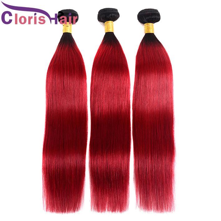 Manikül Hizalı Kırmızı Ombre Brezilyalı Bakire Saç Uzantıları Düz Renkli İnsan Saç Demetleri Koyu Kökler 1B Kırmızı Brazillian Ombre Örgüleri