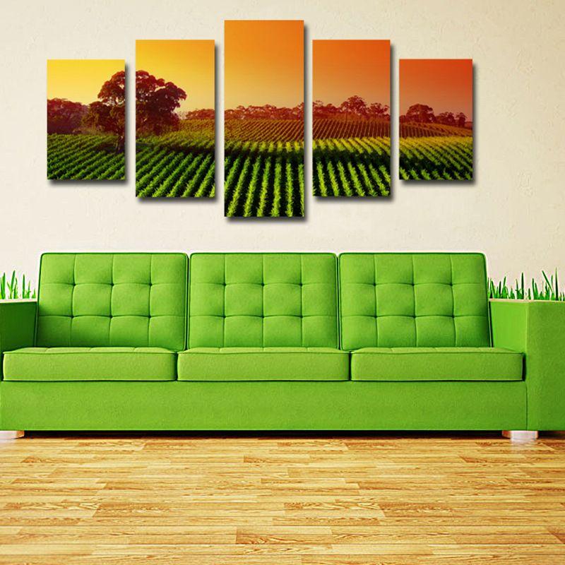 Pittura decorativa Campi pastorali Suset e Tree Scenery Canvas Picture Soggiorno rimovibile Wall Decor 5 pezzi Poster senza cornice