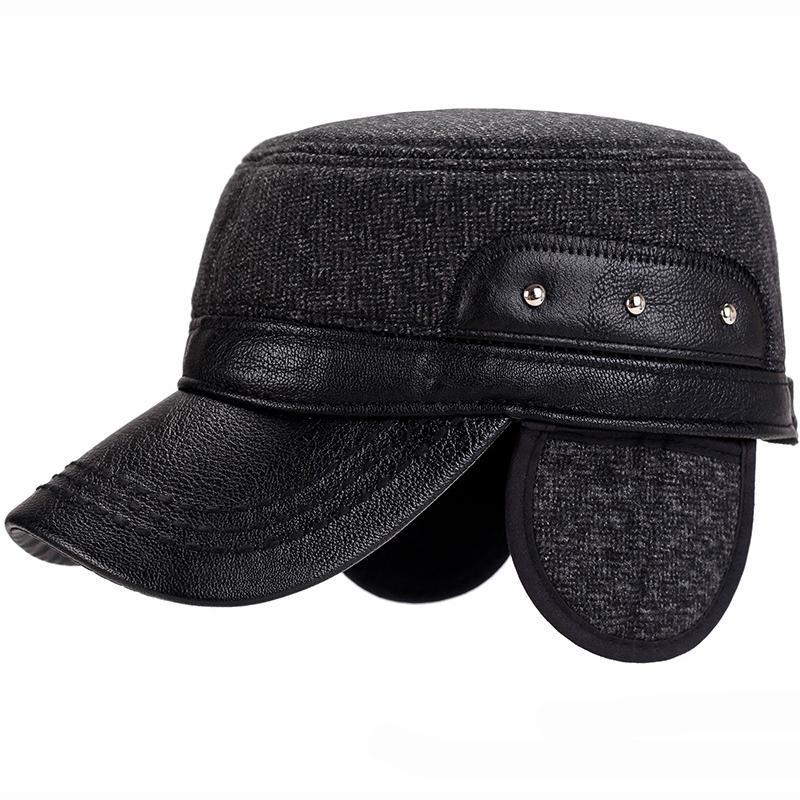 Winter Baseball Cap Leather Dad Hat Flat Cap Men Hats