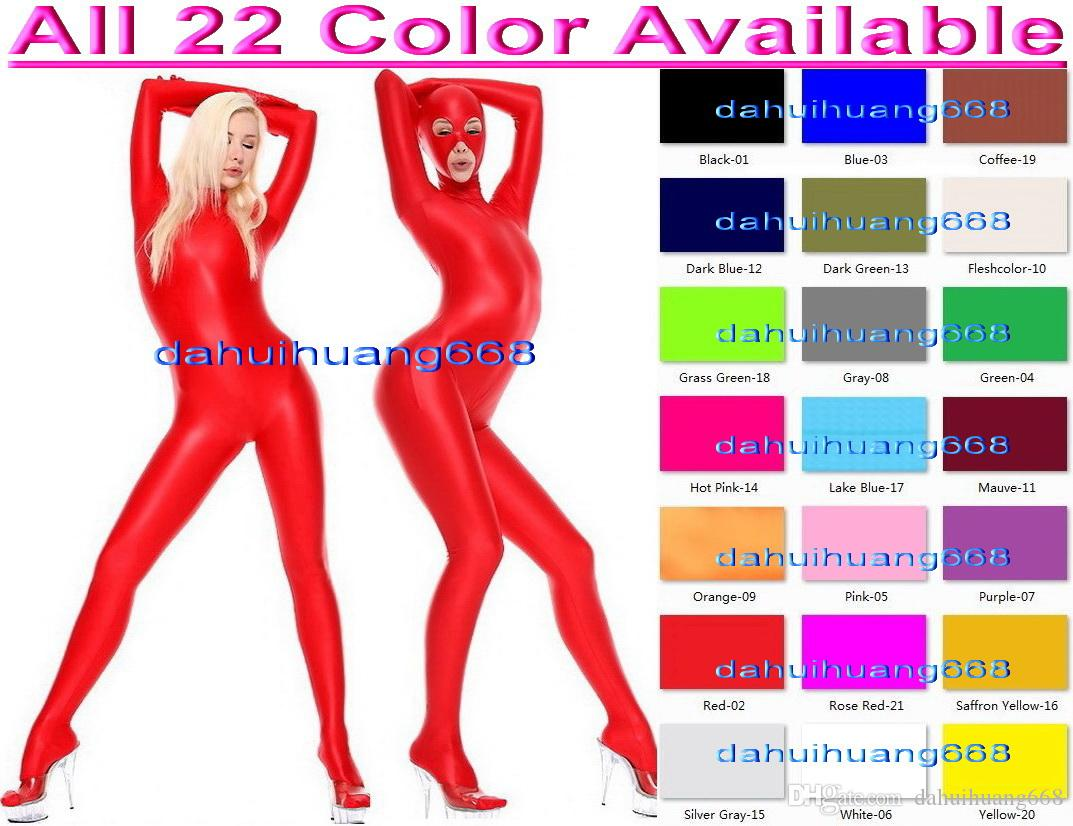 Unisex Full Bodysuit Outfit New 23 Color Lycra Spandex Suit Catsuit Costumes With Open Eyes and Mouth Unisex Sexy Body Suit Costumes DH049