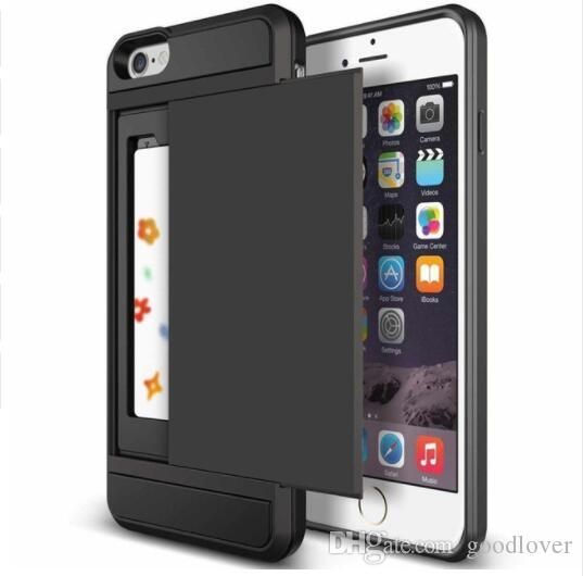 Tough Slide Wallet Card Speicher Rüstungs-Kasten für Iphone 11 7 8 6s Plus X XR XS MAX Dual Layer-TPU