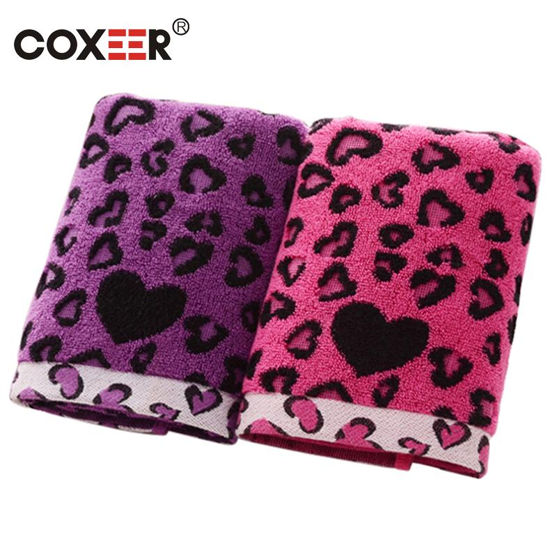 coxeer 2PCs/Set Bath Towel Wrap Hand Towel Cotton Heart Printed Bathroom Shower Towle Rectangle Beach Toallas Pink Purple
