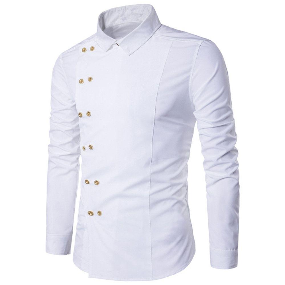 Yenilik Düğme Erkek Beyaz Bluz Gelgit Kruvaze Yakışıklı Adam Gömlek Erkekler Iş Rahat Tarzı Ince Blusa Ofis Iş Elbisesi