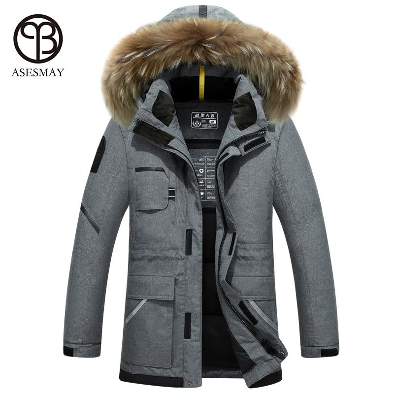 Asesmay 2017 brand clothing men down jacket high quality men's winter coats hooded fur goose feather wellensteyn jackets parka