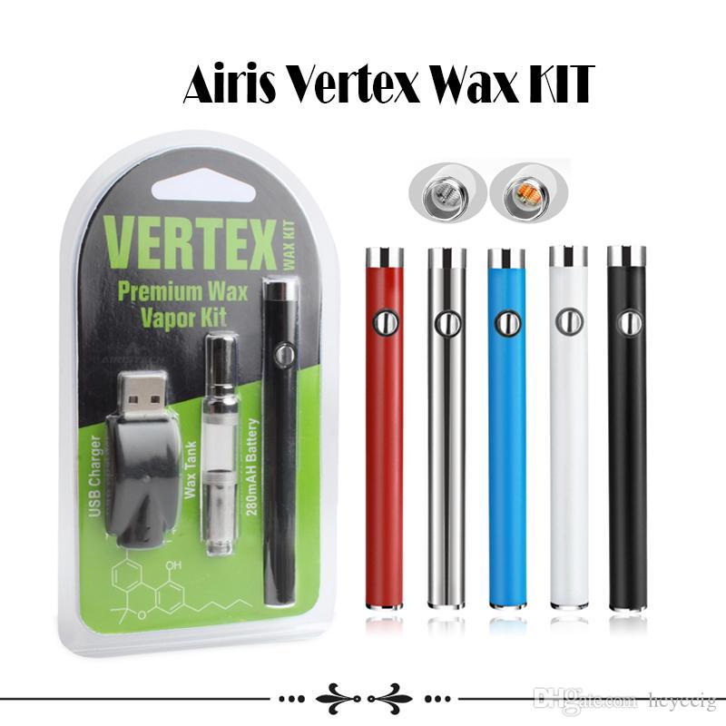 Airis W3 Kit Vertex Wax Kit 280mAh Button Battery Kit Quatz Dual Coil Vape Pen Wax Vaporizer