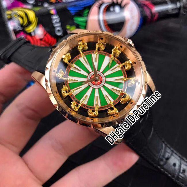 Nuovo Excalibur 45 RDDBEX0398 oro rosa 18 carati cavalieri in oro giallo della tavola rotonda quadrante verde smalto orologio automatico da uomo nero Leathe B42e5