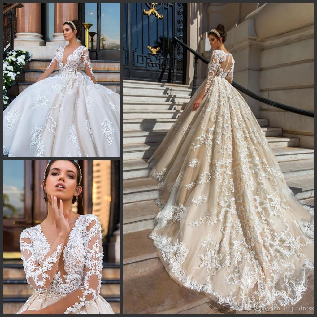 2019 Nuevo lujo de manga larga vestidos de novia con escote cuello aplique de encaje de cristal vestido de novia, tren, tren, vestido de novia modesto.