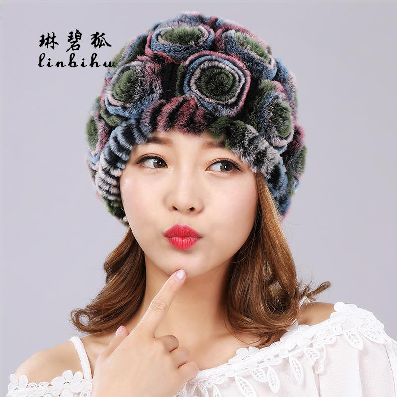 Women Real Rex Rabbit Fur Hats Fashion Rose Flower Style Beanies Lovely Girls Hats Winter Ladies Warm Knitted Rabbit Fur Caps D18110102