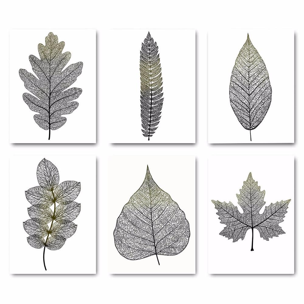 Black Leaves Abstract Wall Art Canvas HD Print Poster Minimalist Painting Decorative Picture For Living Room Nordic Decoration