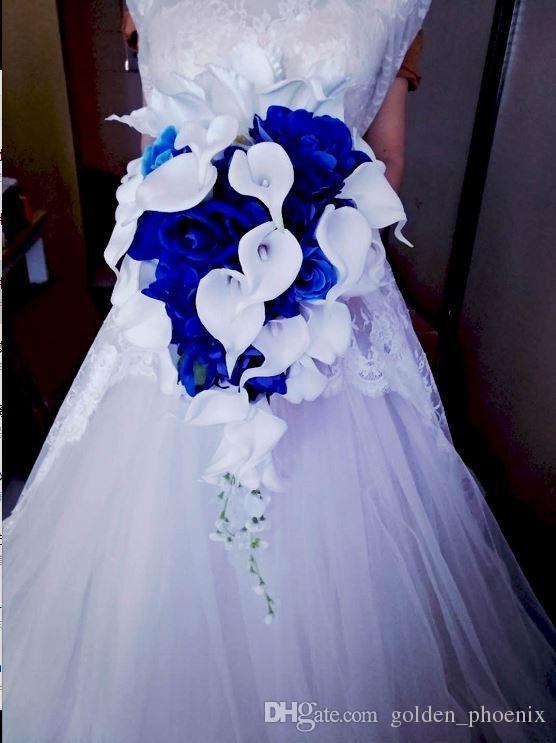 2018 high-end özel beyaz calla zambak mavi gül ortanca şelale düğün gelin buketi