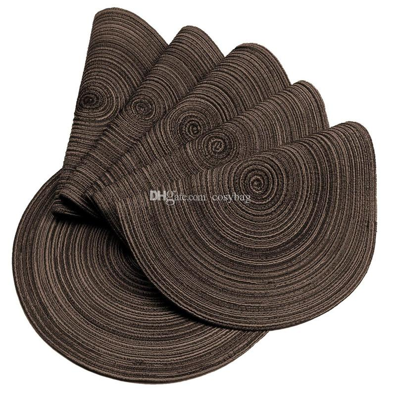 Round placemats round woven placemat dining table decorate fashion dining table mat dise pads bowl pad