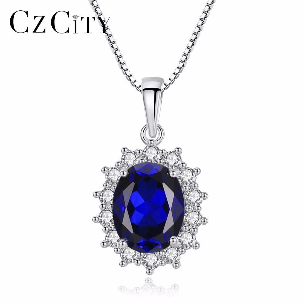 CZCITY подвески ожерелье цепь Овальный Принцесса Диана Уильям сапфир синий бриллиант стерлингового серебра 925 Ожерелье для женщин Y1892805