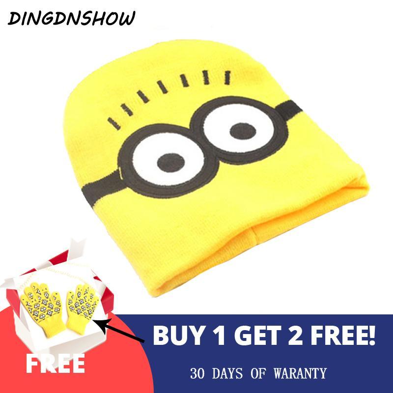 [DINGDNSHOW]2018 Skullies Beanies Hat Winter Cap Kids Warm Cartoon Minions Bonnet Cap Lovely Cotton Knitted Hat for Boy and Girl D18110601