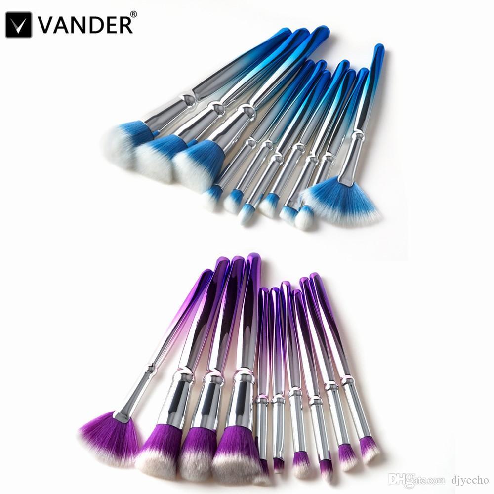 Moda 10 ADET Makyaj Vakfı Pudra Makyaj Fırçalar Kaş Eyeliner Allık Kozmetik Kapatıcı Fırçalar Maquillage Araçları
