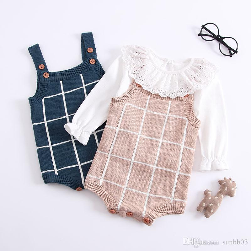 Herbst Infant Baby Gestrickte Strampler Jungen Mädchen Plaid Hosenträger Overalls Strickwaren Strampler Kinder Kleinkinder Klettern Kleidung 14254