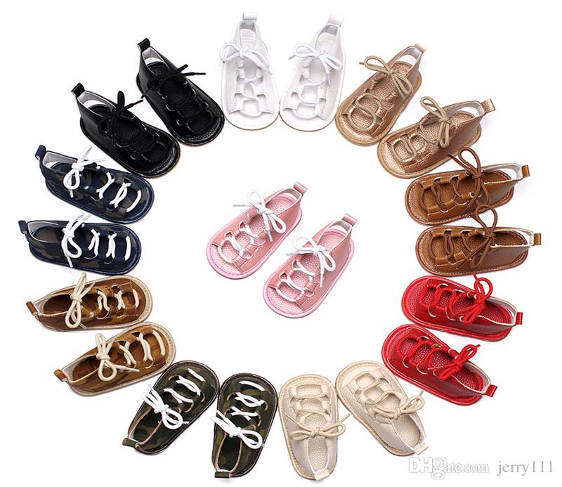 Nuevo bebé PU cuero mocasines zapatos sandalias romanas de fondo suave bebé recién nacido cruzado primer zapatos para caminar JLC919