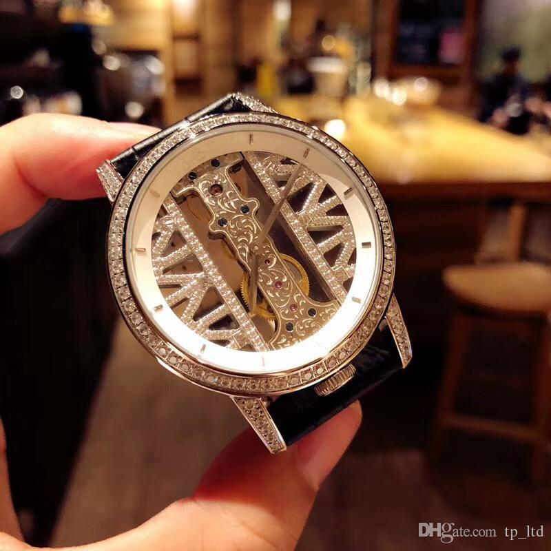 Beyaz adamın İzle Saatı diamonds Otomatik Saatler Hollow Miyota 8215 Hareketi ücretsiz kargo