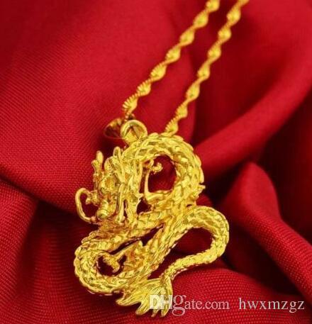Altın Ejderha Kolye Kolye Zinciri Kadın Erkek 24 K Sarı Altın Dolu Takı