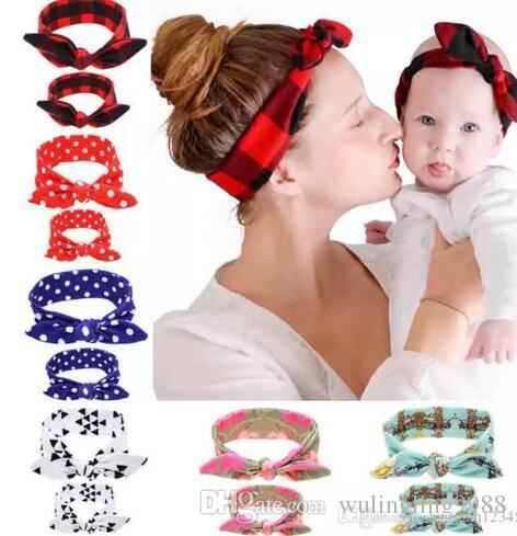 Mamãe bebê Orelhas de Coelho Cabelo Headband Tie Bow Headwear Hoop Stretch Nó Arco Faixas de Cabelo de Algodão Acessórios Para o Cabelo transporte da gota 6 Cores