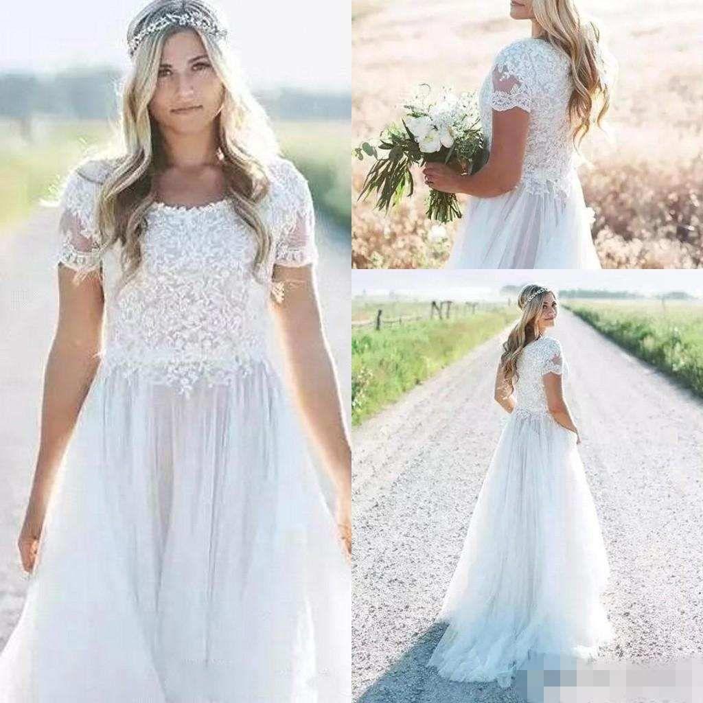 Скромный пляж чешские свадебные платья 2019 короткие рукава линия шифон длинные свадебные платья дешевые свадебное платье vestido де novia