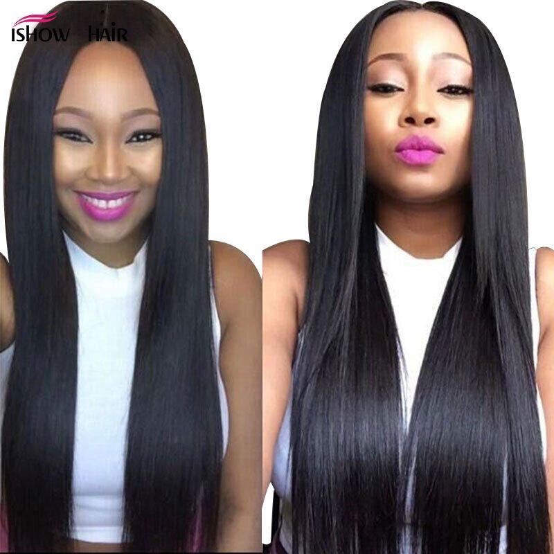 Ishow 8A Brasileño Recto 3 unids Virgin Hair Weave Bundles para Mujeres Chicas Todas las edades Natural Natural Color Peruano Malassian Human Hair Extensions