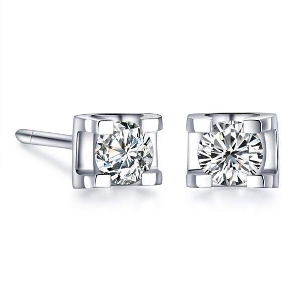 Ücretsiz Kargo 1 karat / çifti Sentetik elmas saplama küpe Narin Kalite sevgililer Günü Hediye Gümüş Takı kadınlar için