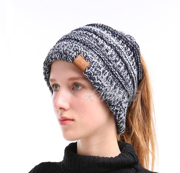 8a944412 Women Cc Ponytail Beanie Lady Messy Bun Beanie Woman Ponytail Hat Winter  Cap Knitted Warm Holey Hats Mix Color Skullies Beanies Baby Hat Crochet  Baby ...