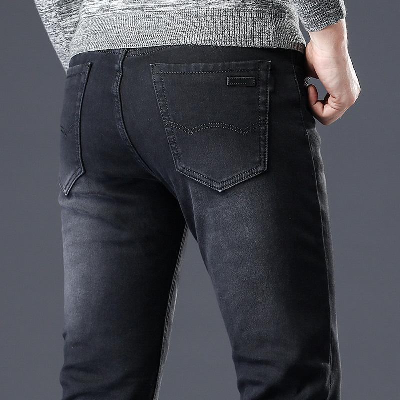 nuevo concepto b8806 1ccb4 Compre Pantalones Vaqueros Negros Hombres Vaqueros De Hombre Hombre Jean  Spijkerbroek Pantalones De Calle De Hombre Pantalon Homme Luxe Slim Fit  Mens ...
