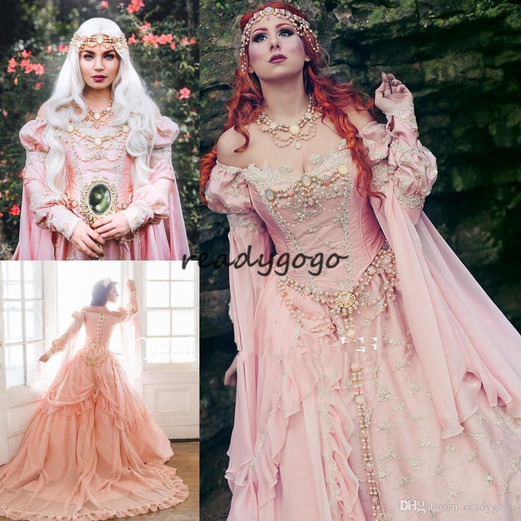 중세 핑크 공 가운 웨딩 드레스 숄더 로얄 슬리브 진주 정원 신부 가운 빈티지 레이스 사용자 지정 만든 2018