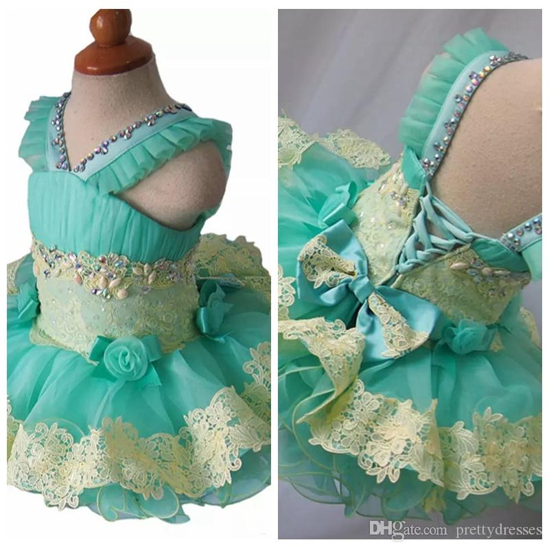 2019 V-Neck Beaded Baby Girls Kids Pageant Cupcake Dresses Infant Tutu Gowns Toddler Baby Girls Lace Appliques Mini Flower Girls Dress