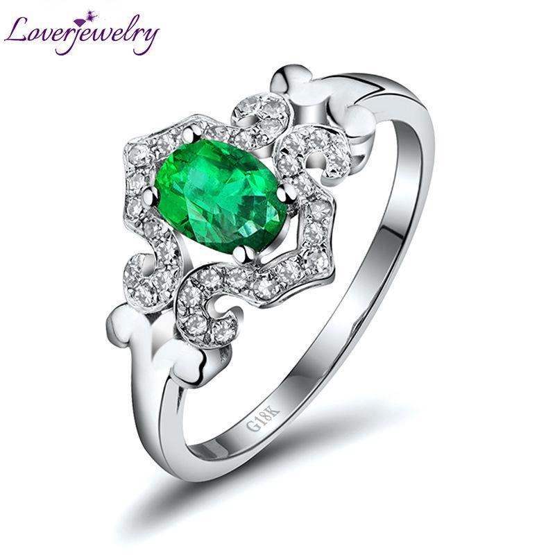 NEW Genuine Natural Esmeralda Anel Com Diamante Em Ouro Branco 18K Oval 4x6mm Gemstone Jóias Atacado para Esposa Presente WU256 S923