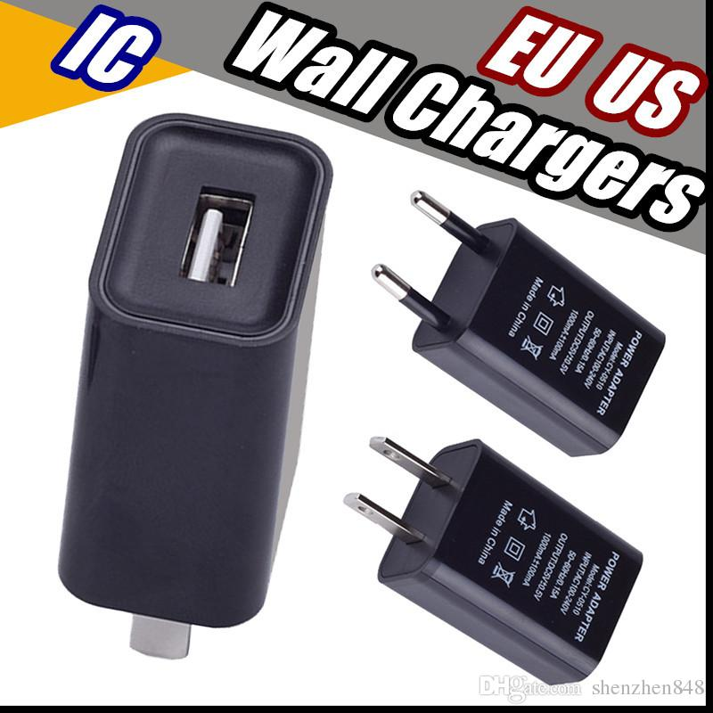 2018 US EU Plug USB Wall Chargers 5V1A IC Adapter Travel Convenient AC Power Adaptor for Samsung Sony Htc Huawei Xiaomi LG Free Shipping