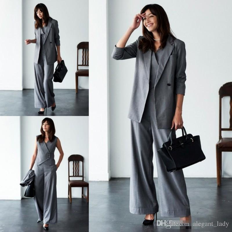 Anne Gelin Pant Suits Düğün Için Gri Üç Adet Uzun Kollu Kadın Takım Elbise Artı Boyutu Akşam törenlerinde giymek