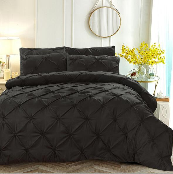 Luxury Duvet Cover Set Pinch Pleat Bedding Sets Solid Color Pleat Embroidery Flower Duvet Cover Full Queen King Size