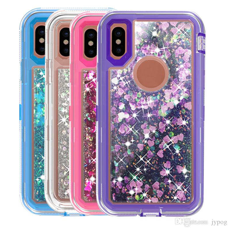 For iPhone XS XR 3in1 Defender Liquid Glitter Quicksand Back Cover with Dust Plug for iPhone XS MAX