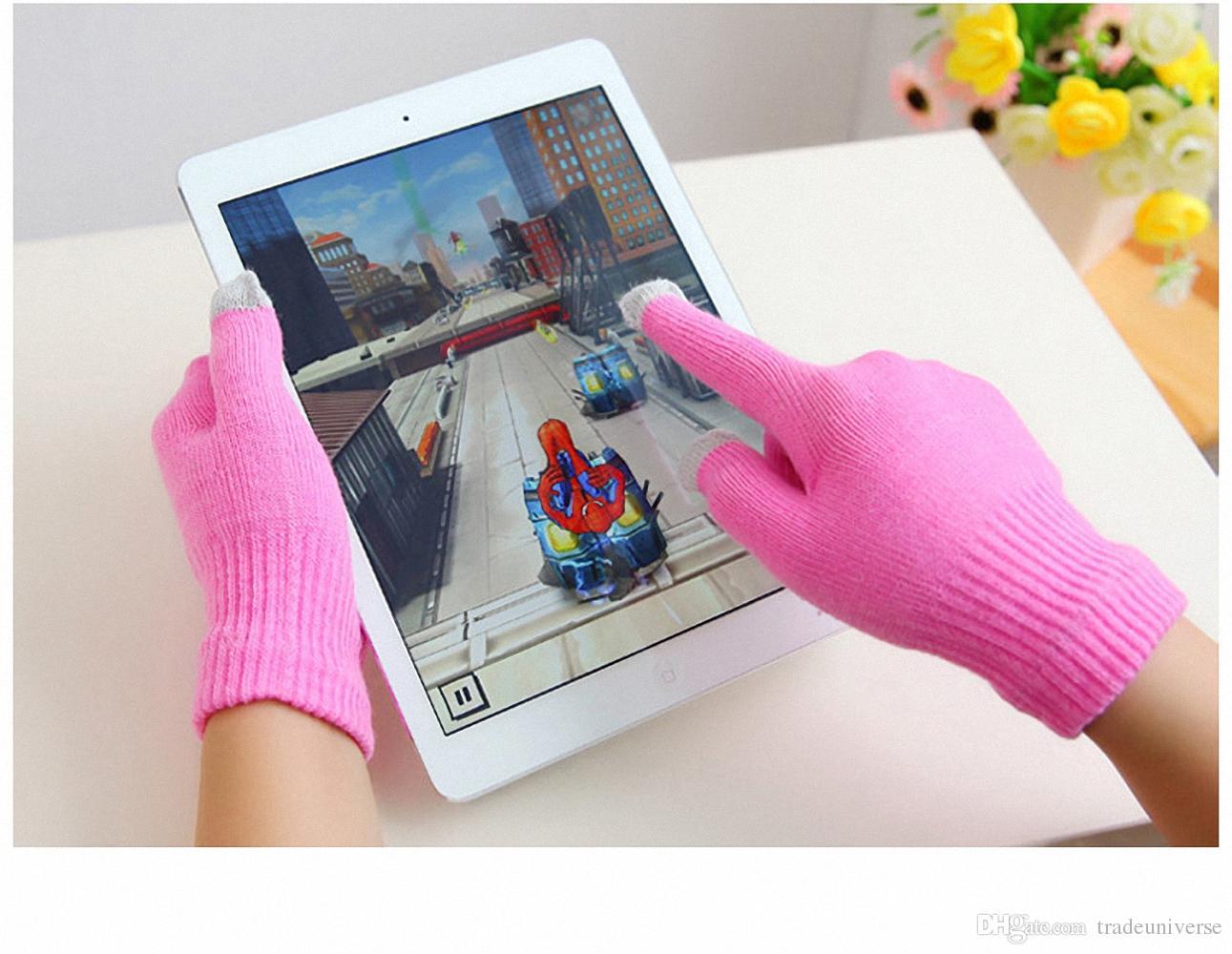 Универсальный Для Мужчин Женщин Зима Теплые Емкостные Вязаные Перчатки Грелка для Сенсорного Экрана Смартфон Для Телефонов с Емкостным Экраном