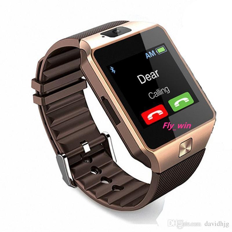 Relojes inteligentes DZ09 con Bluetooth Wristbrand tarjeta SIM / TF para Android Reloj inteligente Reloj inteligente para teléfonos móviles Multi-idioma con cámara Retai