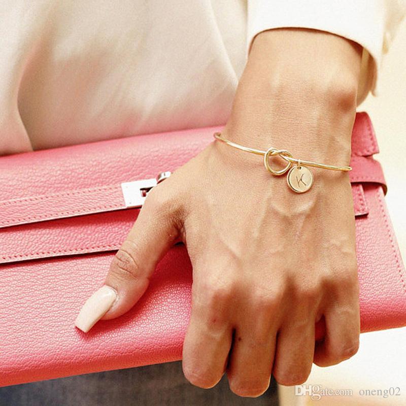 DIY Bridesmaid письмо узел браслет 26 букв алфавита узел сердце прекрасный браслет Шарм браслет ювелирные изделия начальные браслеты свадебный подарок