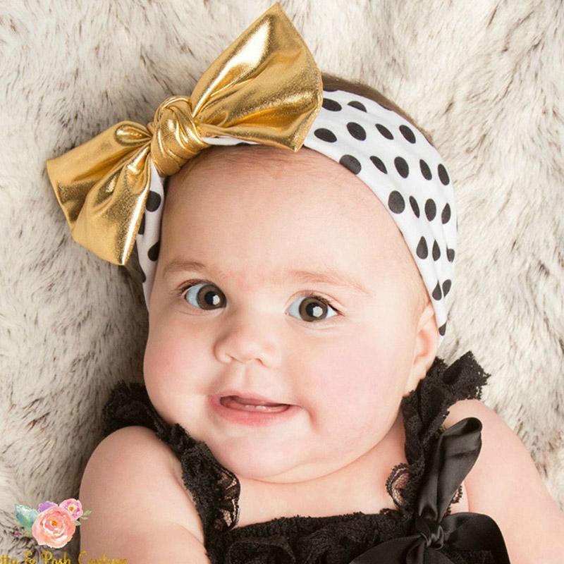 2018 New Lovely Children's Headbands Dots Gold Bow Hair Bands Headwear For Kids Girls Milk Silk Soft Hair Bow Accessories