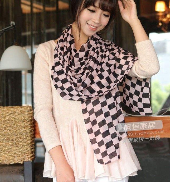 100٪ الحرير كوريا الأزياء أسلوب الوردي الكاكي الأسود 3 ألوان الهندسة الشيفون والأوشحة وشاح تصميم شبكة شال