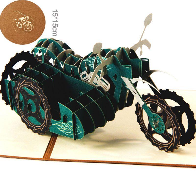 3D Laser Cut Handgemachte Motorrad Motorrad Papier Einladung Grußkarte Postkarte Geburtstagsfeier Geschäft Kreative Geschenk