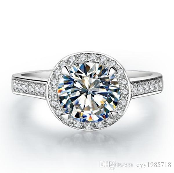 무료 배송 결혼 반지 1CT SONA 합성 다이아몬드 여성 반지 925 스털링 실버 골드 도금 손가락 반지 약혼 반지