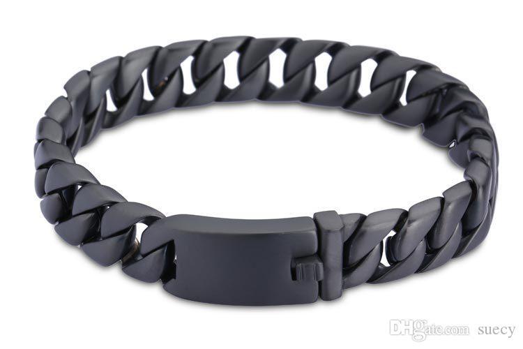 Aço inoxidável Punk Preto Vintage pulseira de homens Moda Mens Pulseiras Curb cubana Chain Link masculino Bracelet Bangle Jewelry Acessórios presente