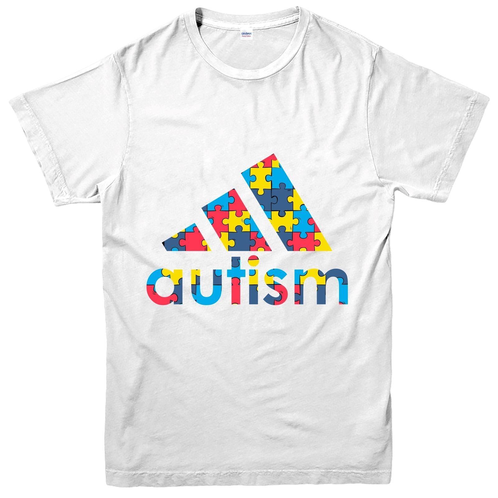 Autism awareness month t-shirt men/'s autism autistic puzzle pieces ribbon tee
