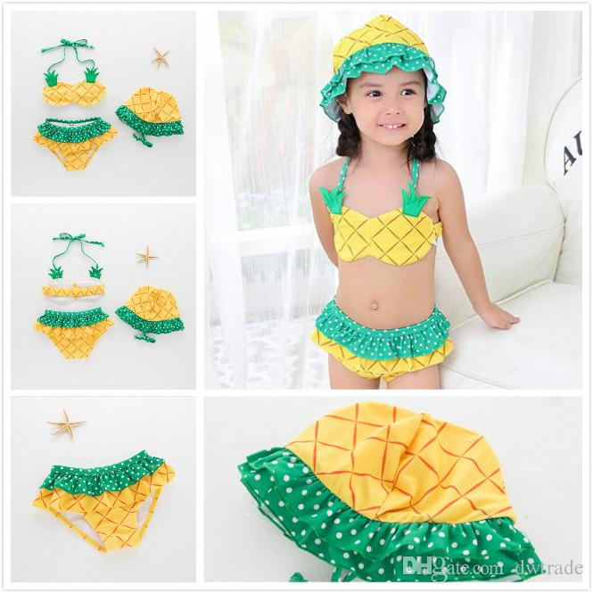 Ropa de moda de playa de verano para niñas Ropa de moda de piña amarilla de dos piezas con sombreros Frutas de punto Ropa de baño estampada para niños Ropa de baño para spa infantil