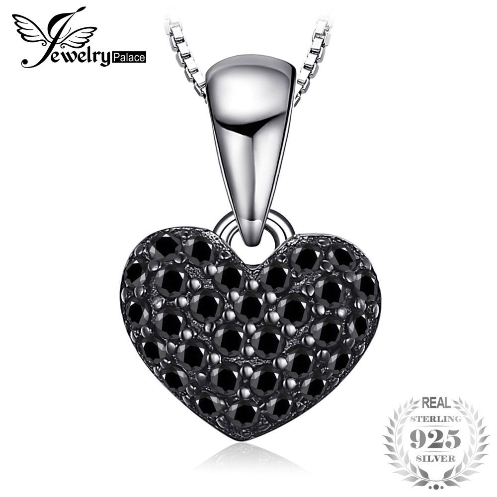 JewelryPalace Fashion 0.28ct Natural Black Spinel Love Heart Pendants For Women Solid 925 Sterling-Silver-Jewelry Without Chain S18101308